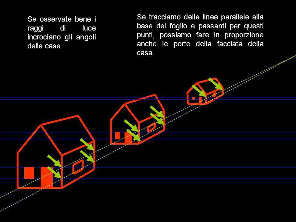 Se tracciamo delle linee parallele alla base del foglio e passanti per questi punti, possiamo fare in proporzione anche le porte della facciata della casa.