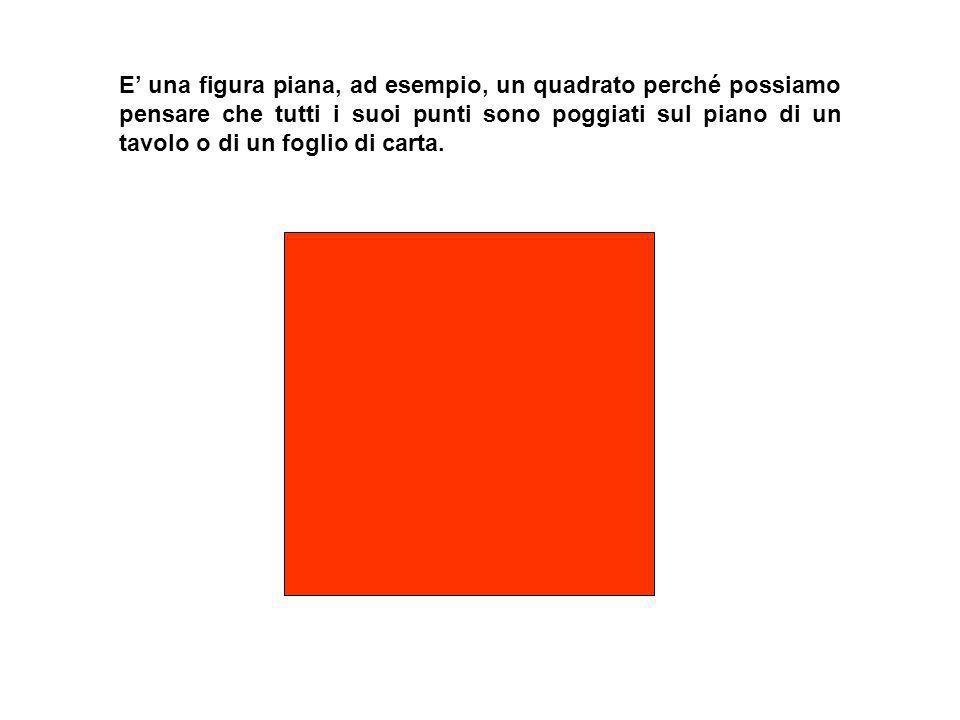E' una figura piana, ad esempio, un quadrato perché possiamo pensare che tutti i suoi punti sono poggiati sul piano di un tavolo o di un foglio di carta.