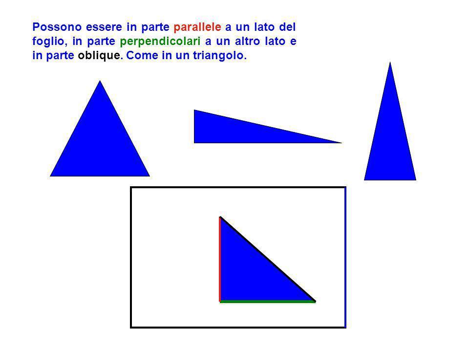 Possono essere in parte parallele a un lato del foglio, in parte perpendicolari a un altro lato e in parte oblique.