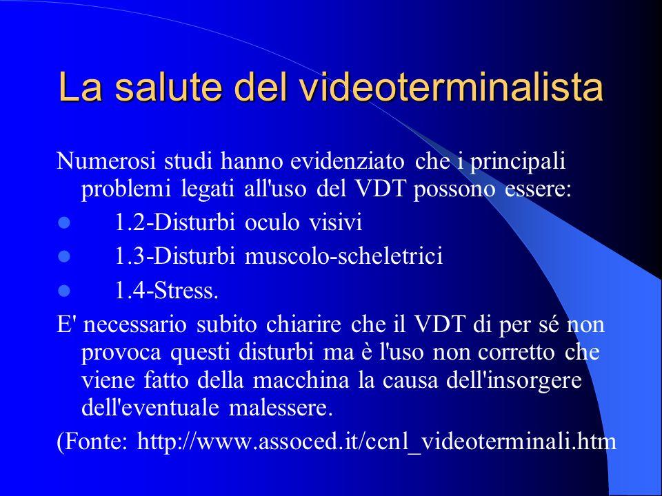 La salute del videoterminalista