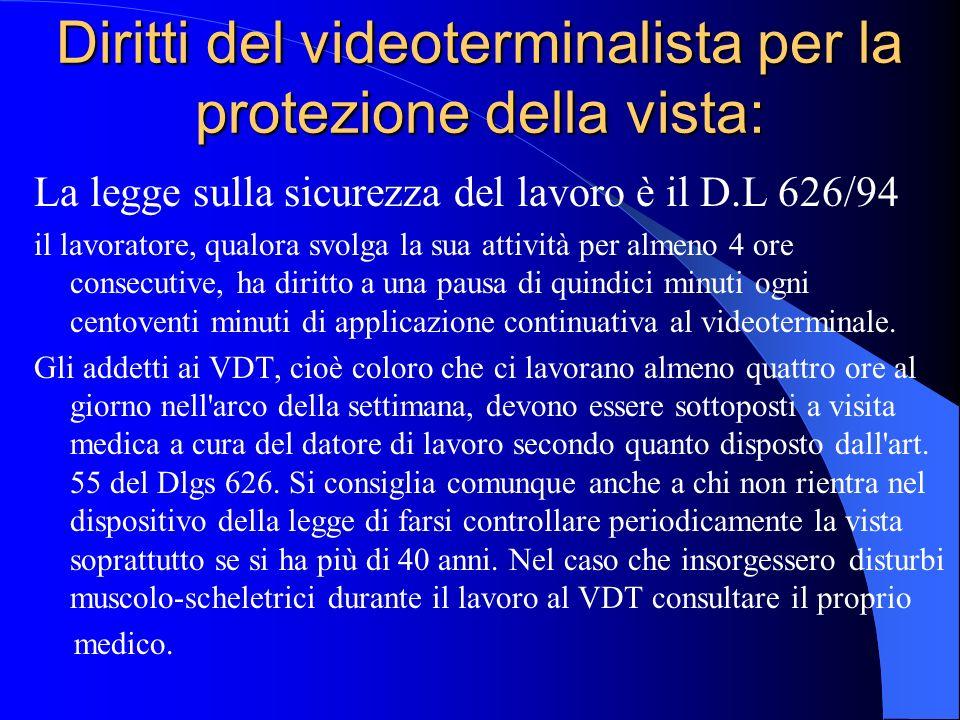 Diritti del videoterminalista per la protezione della vista: