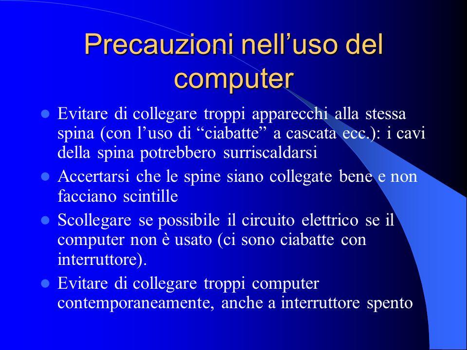 Precauzioni nell'uso del computer