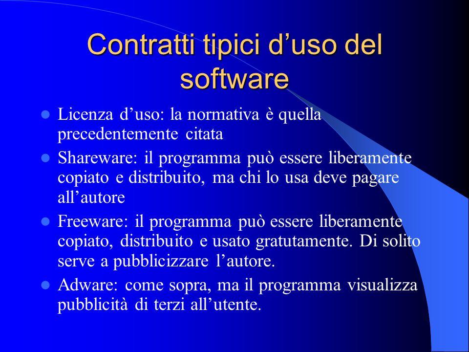 Contratti tipici d'uso del software