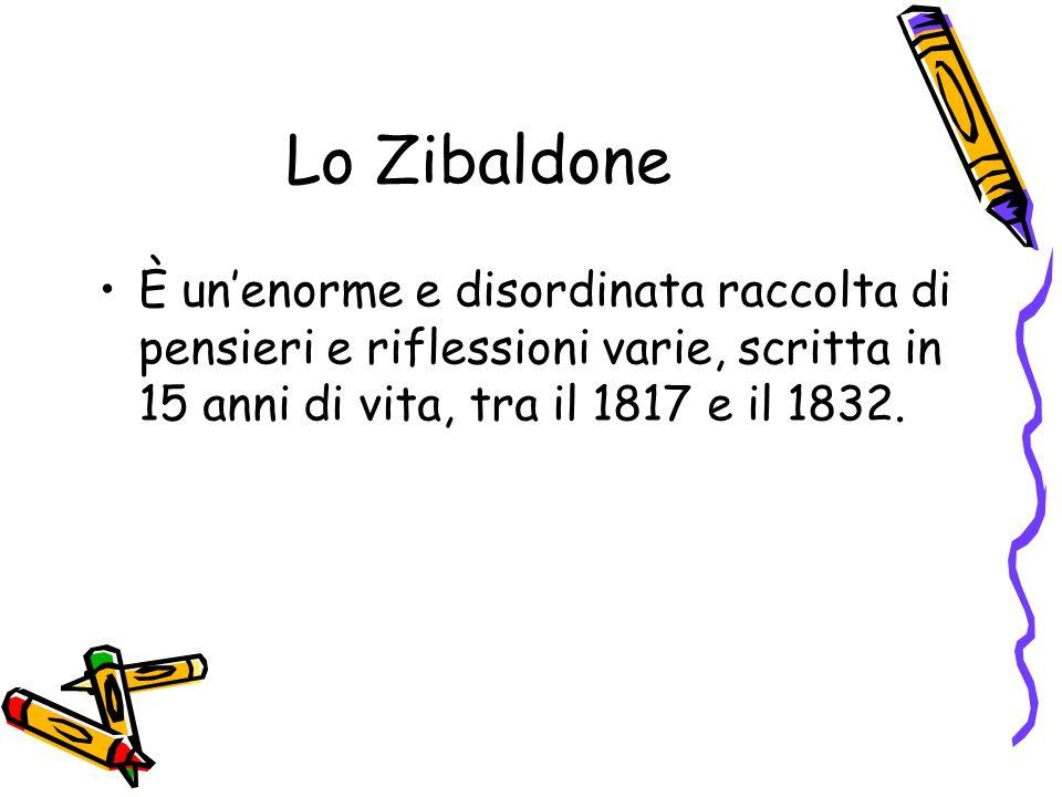 Lo ZibaldoneÈ un'enorme e disordinata raccolta di pensieri e riflessioni varie, scritta in 15 anni di vita, tra il 1817 e il 1832.
