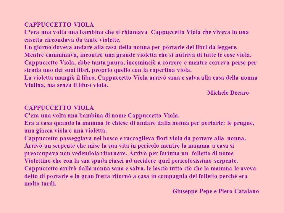 CAPPUCCETTO VIOLA C'era una volta una bambina che si chiamava Cappuccetto Viola che viveva in una casetta circondava da tante violette.