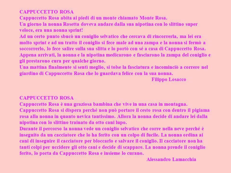 CAPPUCCETTO ROSA Cappuccetto Rosa abita ai piedi di un monte chiamato Monte Rosa.