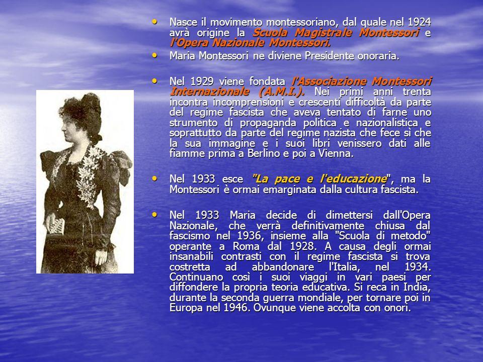 Nasce il movimento montessoriano, dal quale nel 1924 avrà origine la Scuola Magistrale Montessori e l Opera Nazionale Montessori.