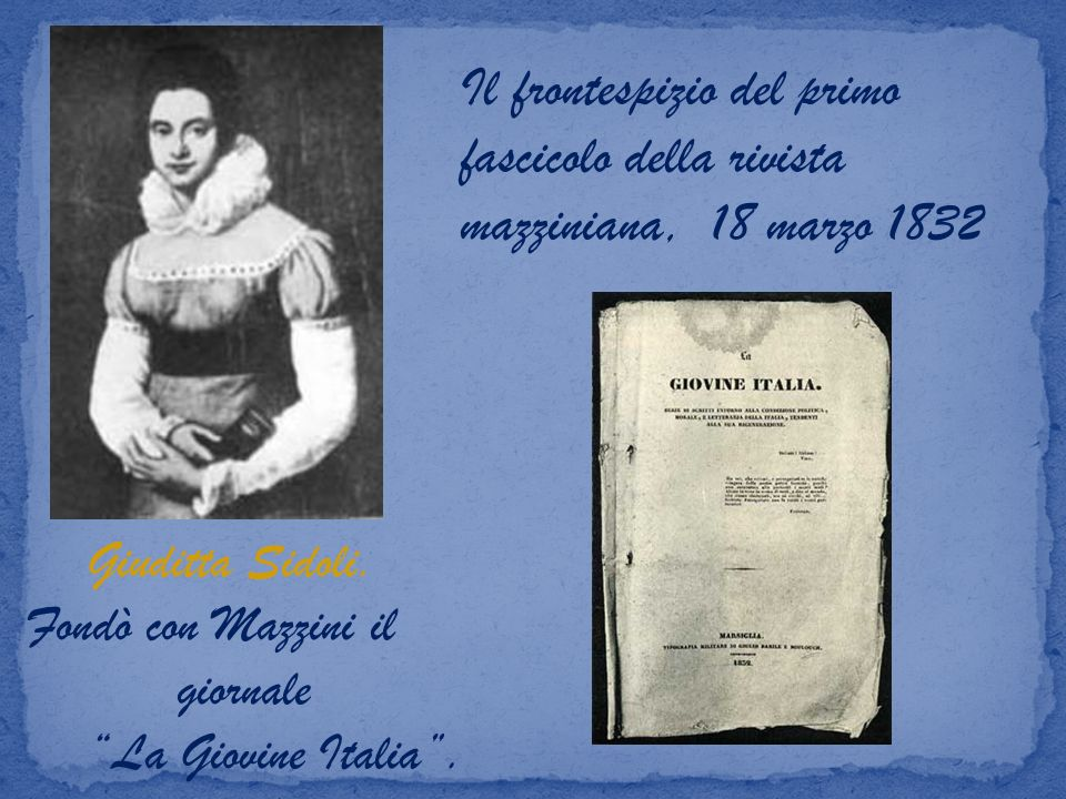 Il frontespizio del primo fascicolo della rivista mazziniana, 18 marzo 1832