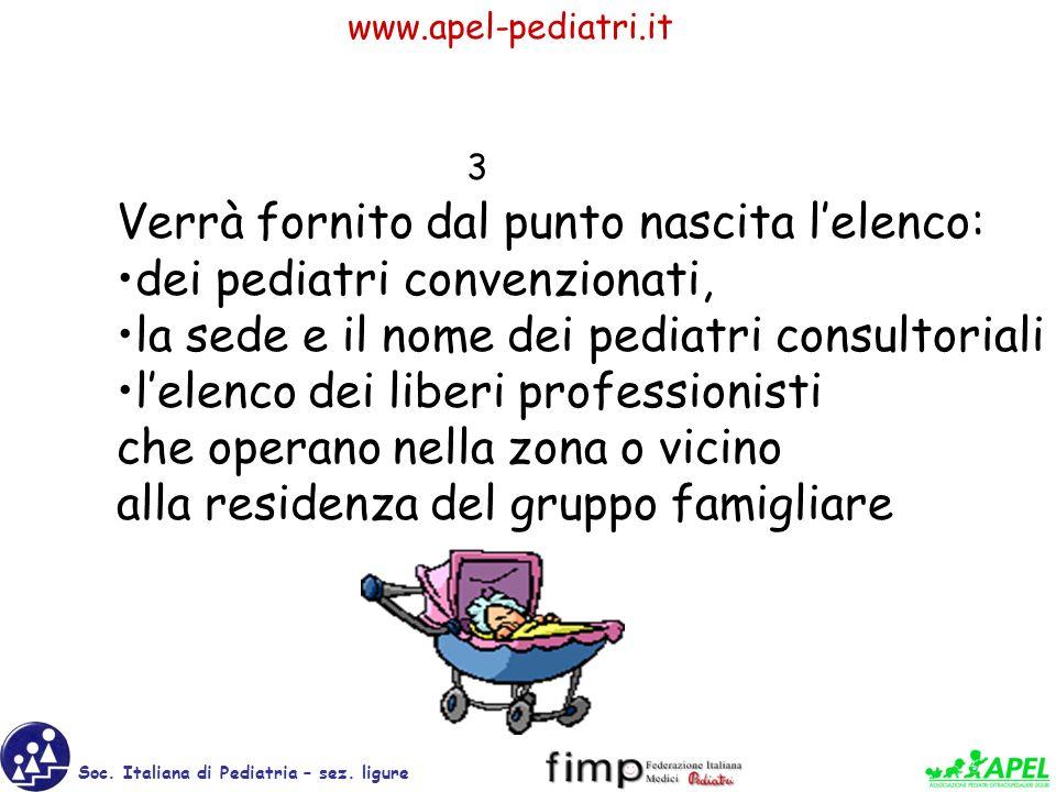 Verrà fornito dal punto nascita l'elenco: dei pediatri convenzionati,