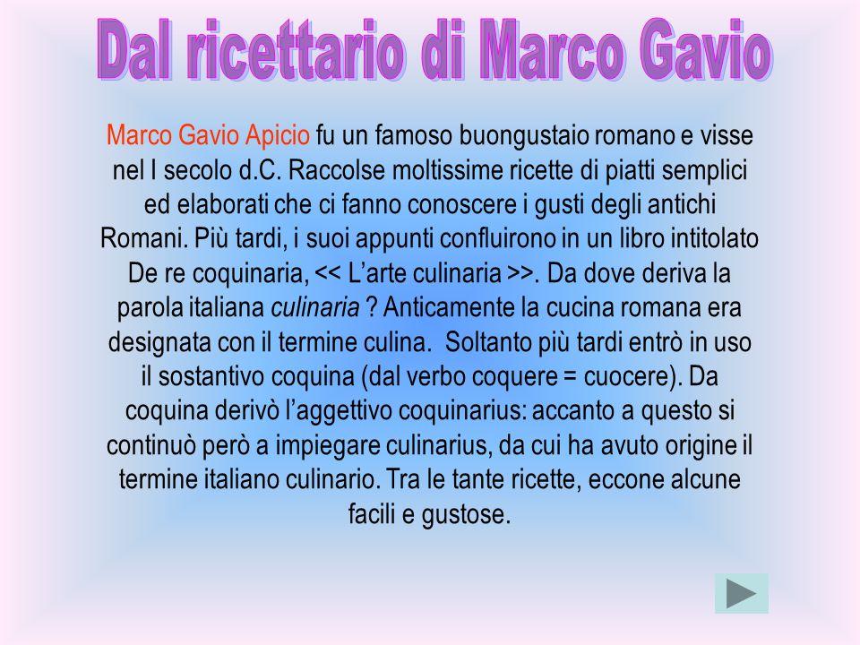 Dal ricettario di Marco Gavio