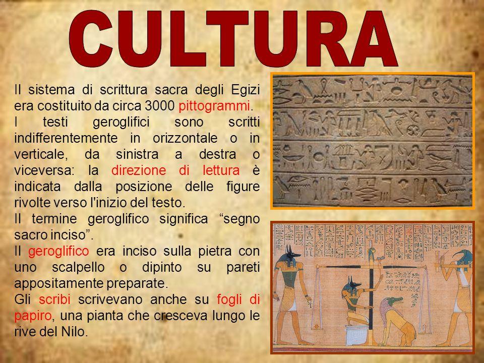 CULTURA Il sistema di scrittura sacra degli Egizi era costituito da circa 3000 pittogrammi.