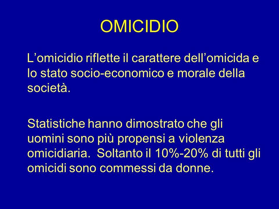 OMICIDIO L'omicidio riflette il carattere dell'omicida e lo stato socio-economico e morale della società.