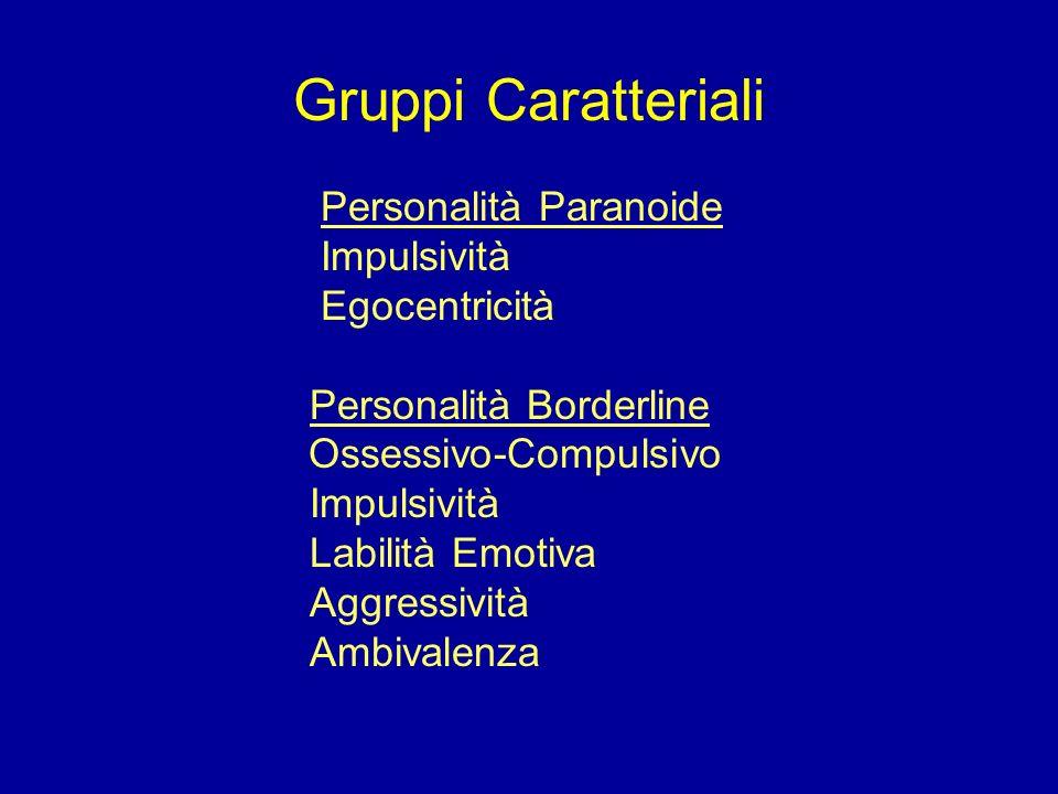 Gruppi Caratteriali Personalità Paranoide Impulsività Egocentricità