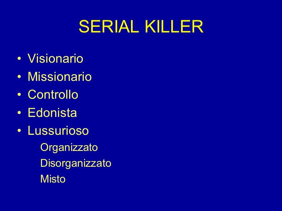 SERIAL KILLER Visionario Missionario Controllo Edonista Lussurioso
