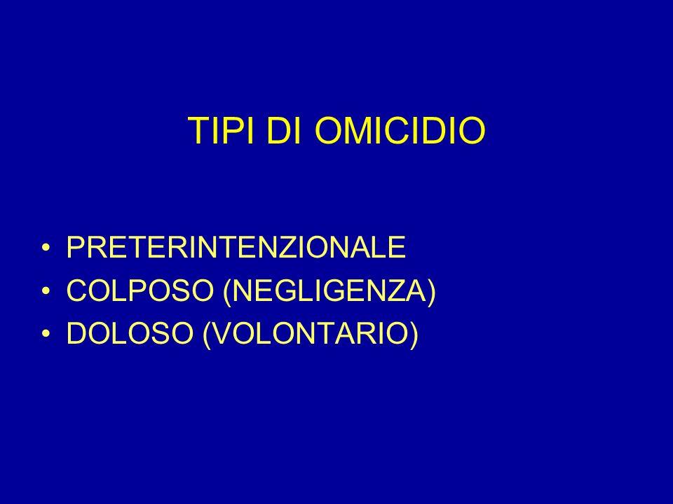 TIPI DI OMICIDIO PRETERINTENZIONALE COLPOSO (NEGLIGENZA)