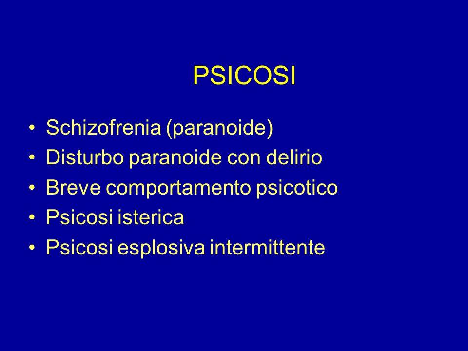 PSICOSI Schizofrenia (paranoide) Disturbo paranoide con delirio