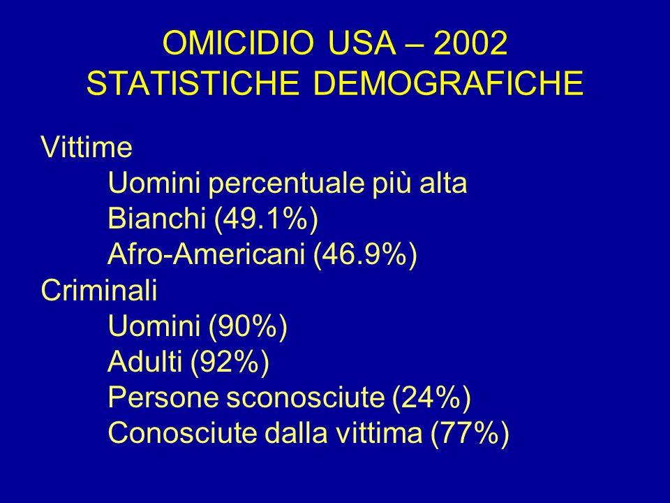 OMICIDIO USA – 2002 STATISTICHE DEMOGRAFICHE