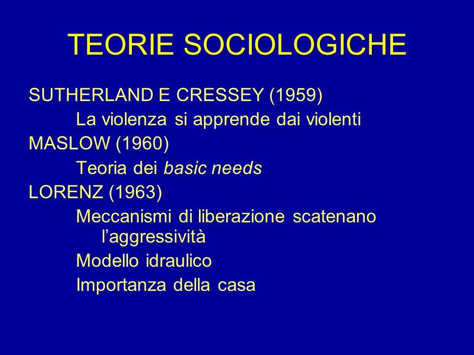 TEORIE SOCIOLOGICHE SUTHERLAND E CRESSEY (1959)