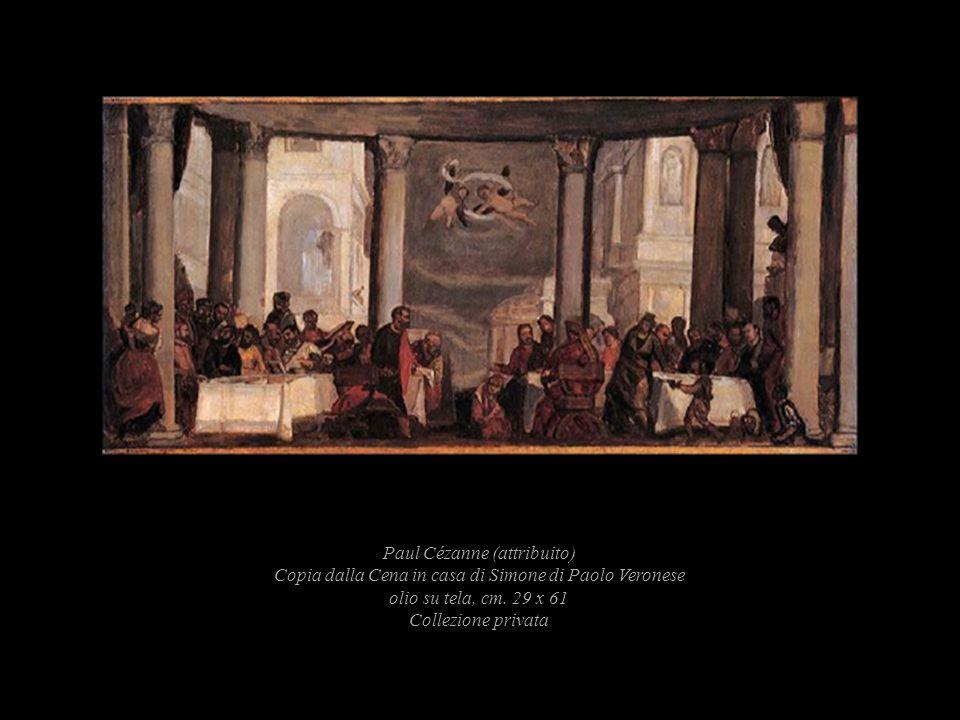 Paul Cézanne (attribuito) Copia dalla Cena in casa di Simone di Paolo Veronese olio su tela, cm. 29 x 61