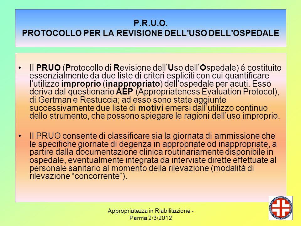 P.R.U.O. PROTOCOLLO PER LA REVISIONE DELL USO DELL OSPEDALE