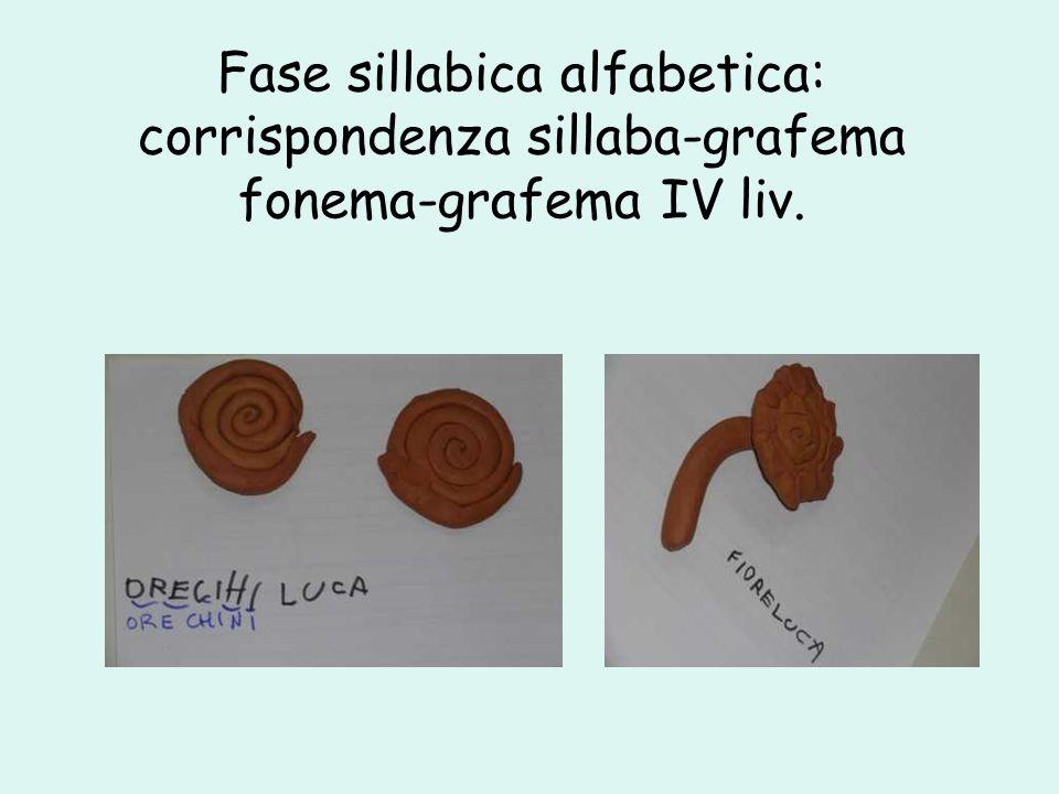 Fase sillabica alfabetica: corrispondenza sillaba-grafema fonema-grafema IV liv.