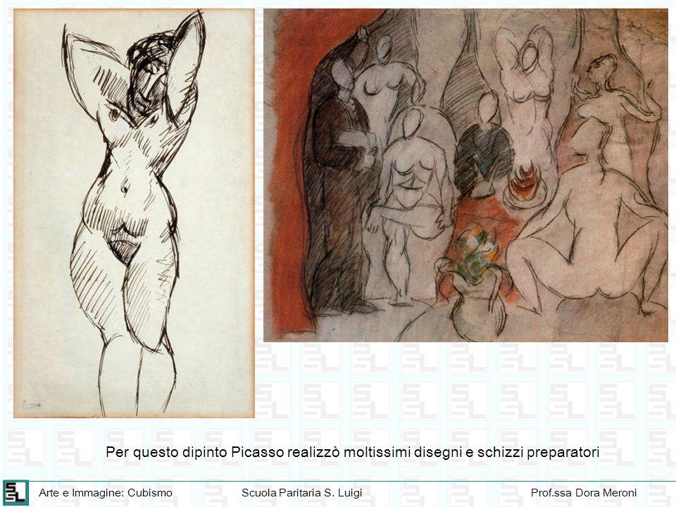Per questo dipinto Picasso realizzò moltissimi disegni e schizzi preparatori