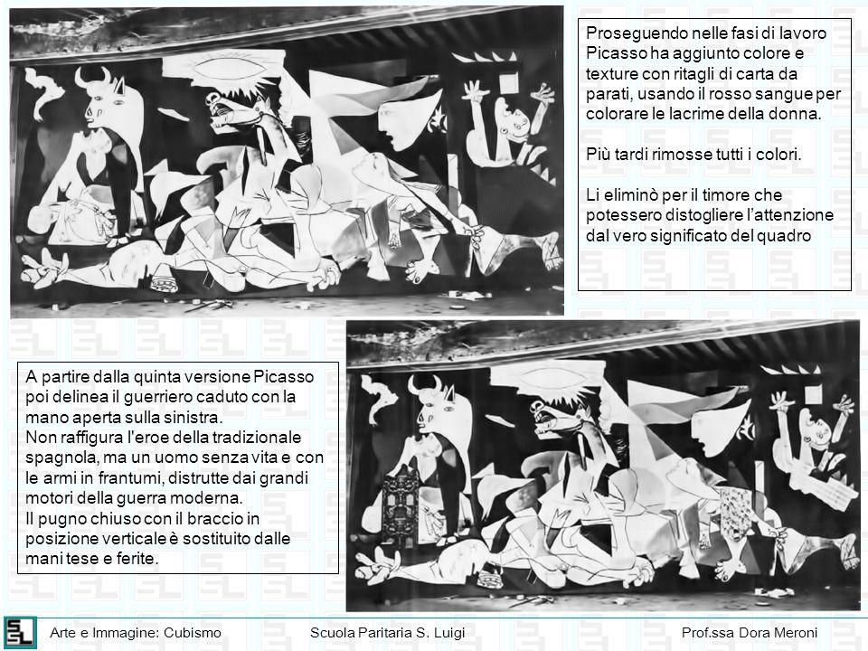 Proseguendo nelle fasi di lavoro Picasso ha aggiunto colore e texture con ritagli di carta da parati, usando il rosso sangue per colorare le lacrime della donna.