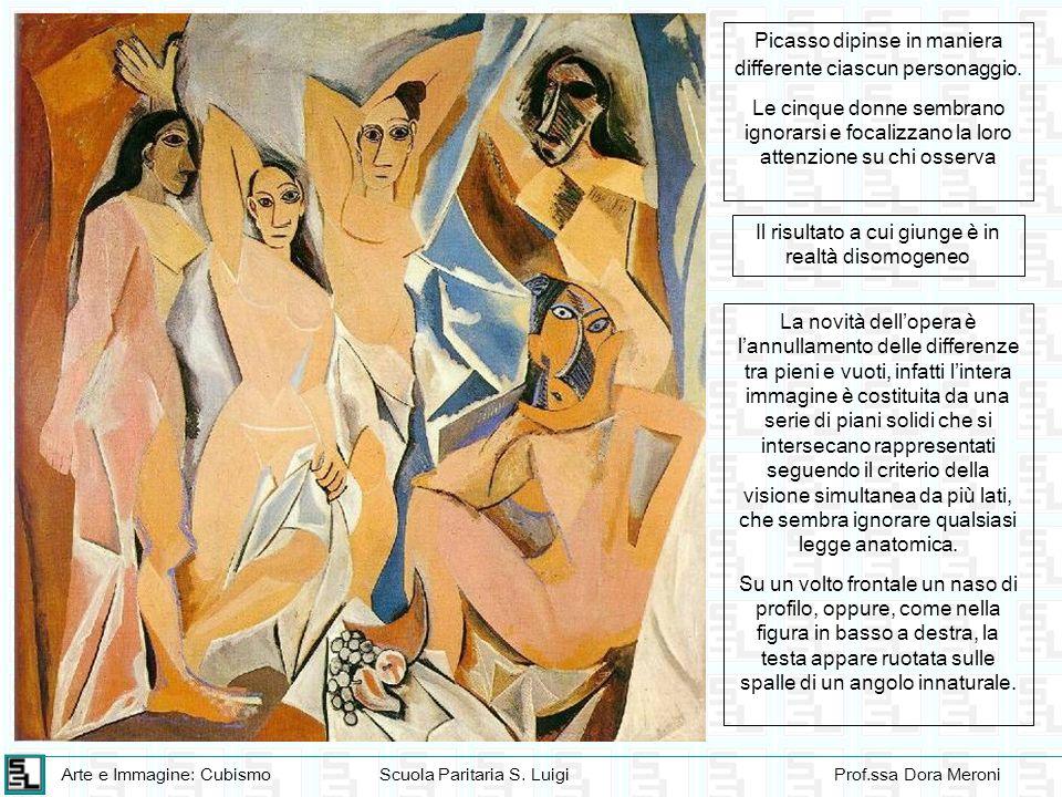 Picasso dipinse in maniera differente ciascun personaggio.