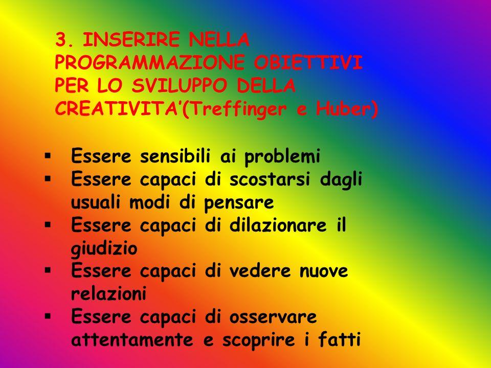 3. INSERIRE NELLA PROGRAMMAZIONE OBIETTIVI PER LO SVILUPPO DELLA CREATIVITA'(Treffinger e Huber)