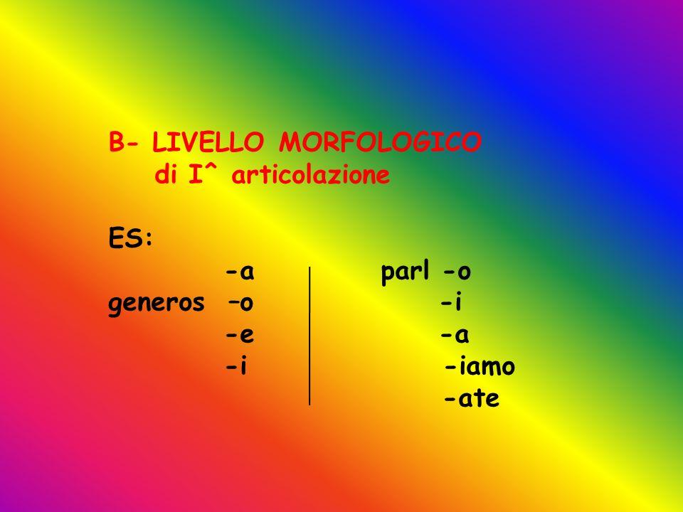B- LIVELLO MORFOLOGICO