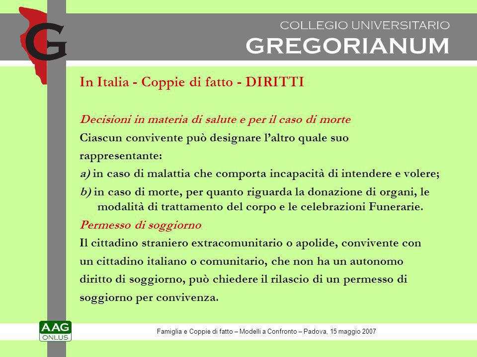 In Italia - Coppie di fatto - DIRITTI