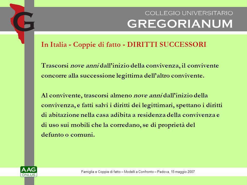In Italia - Coppie di fatto - DIRITTI SUCCESSORI
