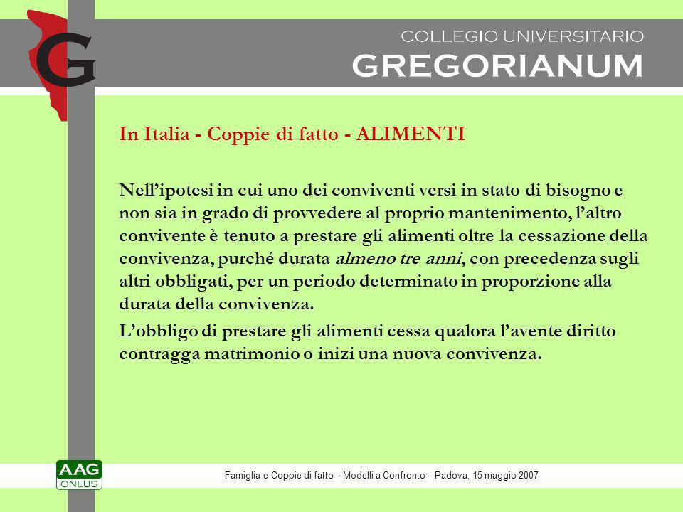 In Italia - Coppie di fatto - ALIMENTI