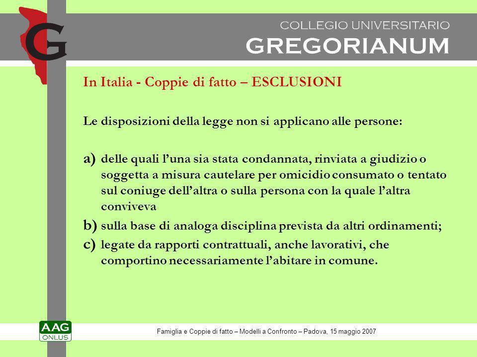 In Italia - Coppie di fatto – ESCLUSIONI