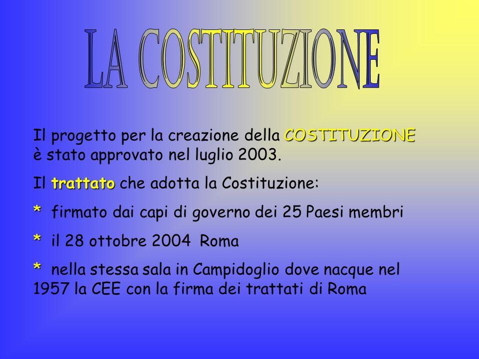 LA COSTITUZIONE Il progetto per la creazione della COSTITUZIONE è stato approvato nel luglio 2003. Il trattato che adotta la Costituzione: