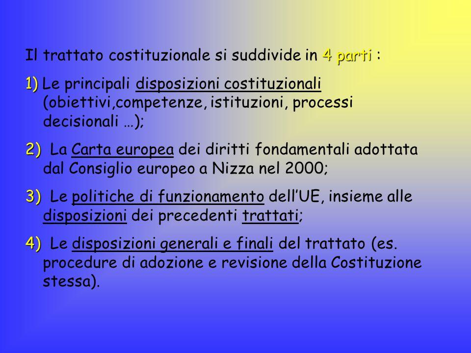Il trattato costituzionale si suddivide in 4 parti :