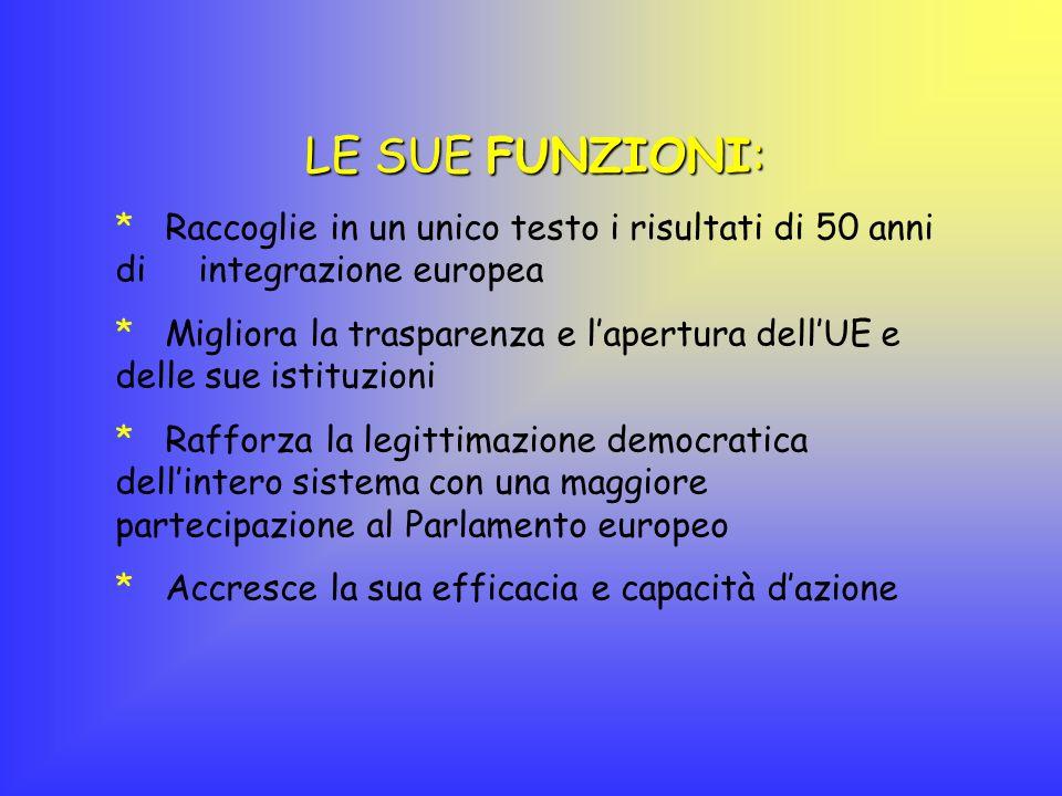 LE SUE FUNZIONI: Raccoglie in un unico testo i risultati di 50 anni di integrazione europea.