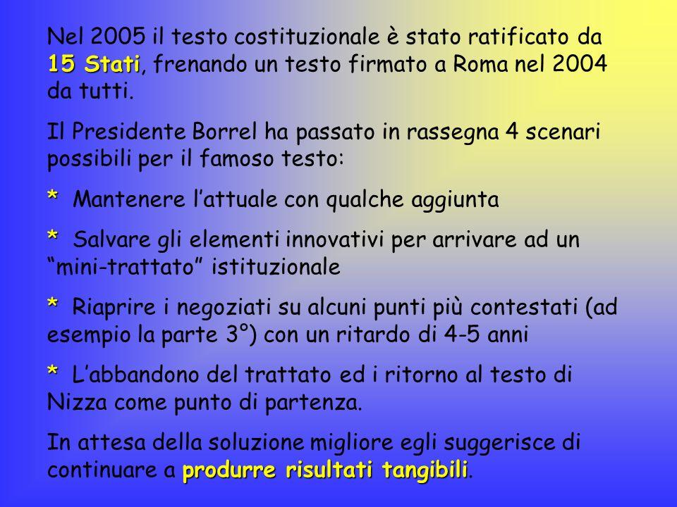 Nel 2005 il testo costituzionale è stato ratificato da 15 Stati, frenando un testo firmato a Roma nel 2004 da tutti.