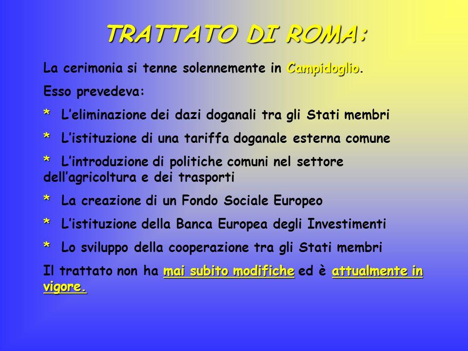 TRATTATO DI ROMA: La cerimonia si tenne solennemente in Campidoglio.