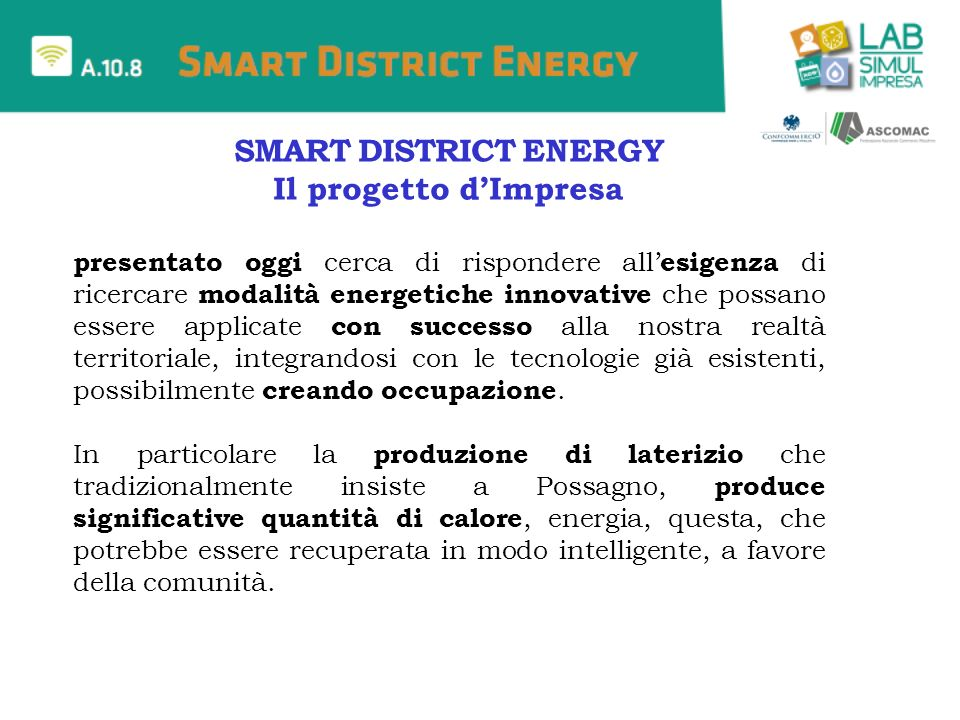 SMART DISTRICT ENERGY Il progetto d'Impresa