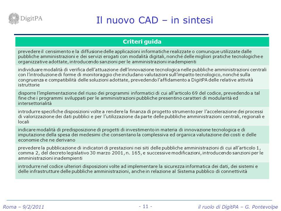 Il nuovo CAD – in sintesi