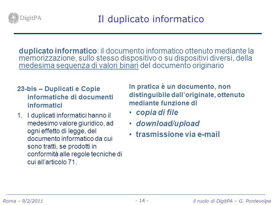 Il duplicato informatico
