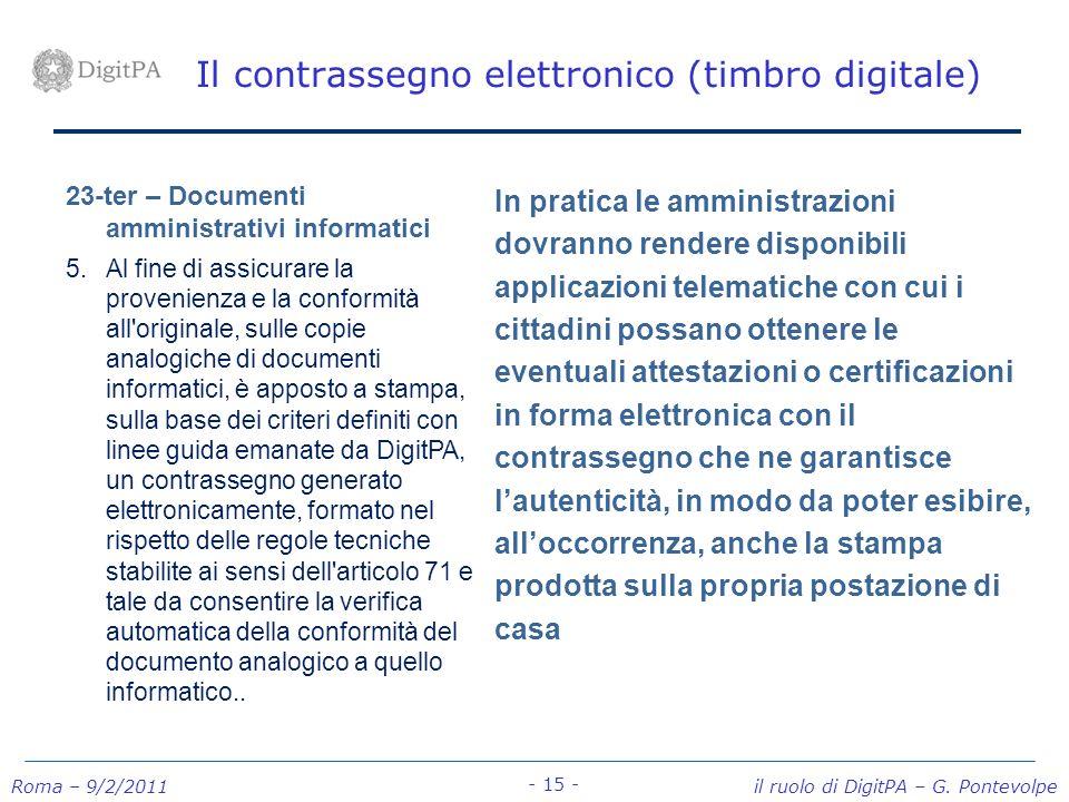 Il contrassegno elettronico (timbro digitale)
