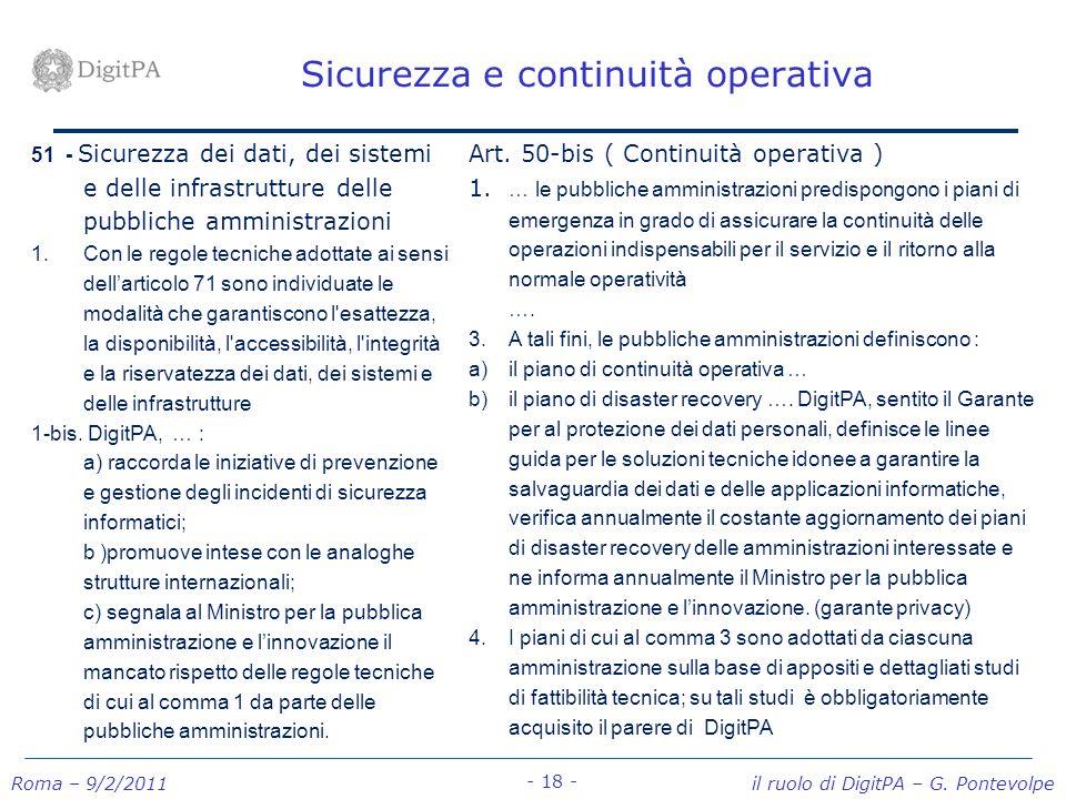 Sicurezza e continuità operativa