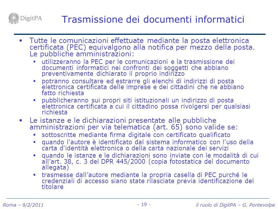 Trasmissione dei documenti informatici