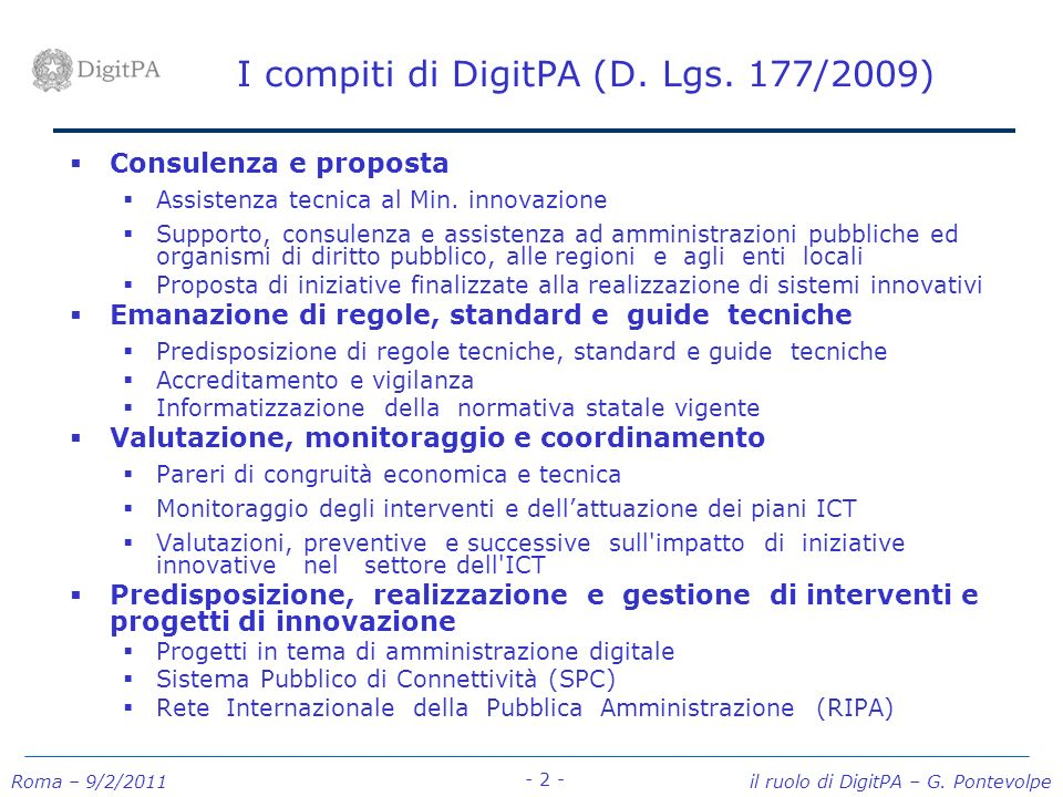 I compiti di DigitPA (D. Lgs. 177/2009)