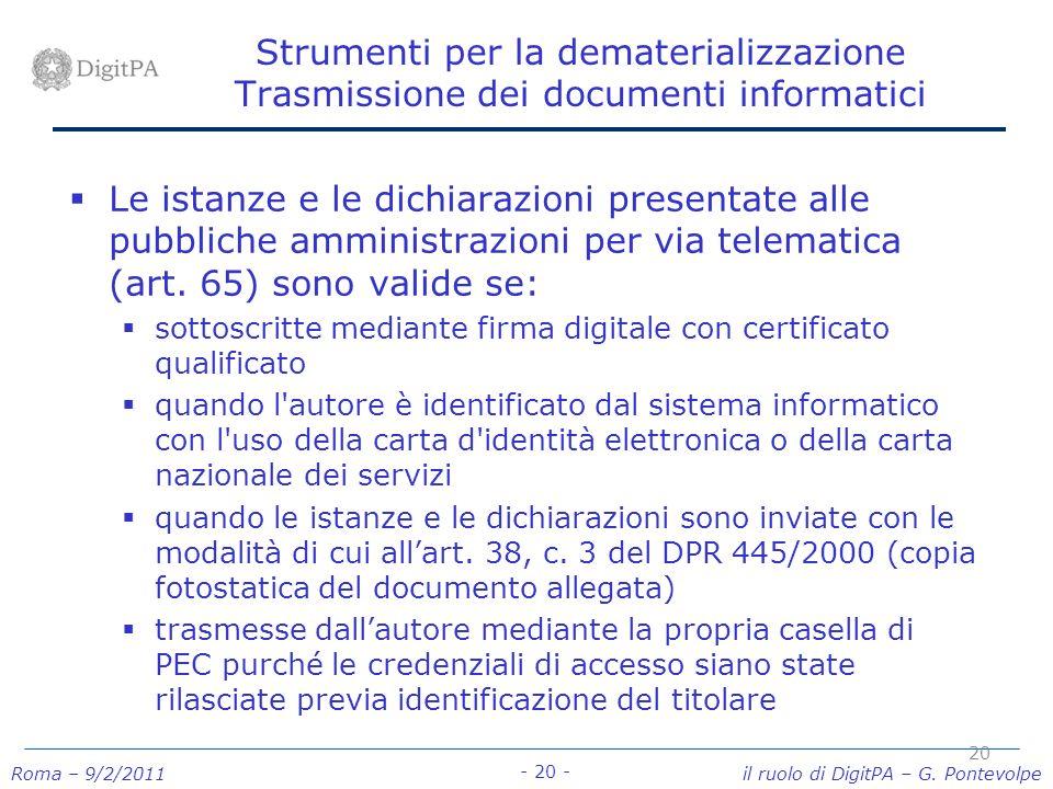 Strumenti per la dematerializzazione Trasmissione dei documenti informatici