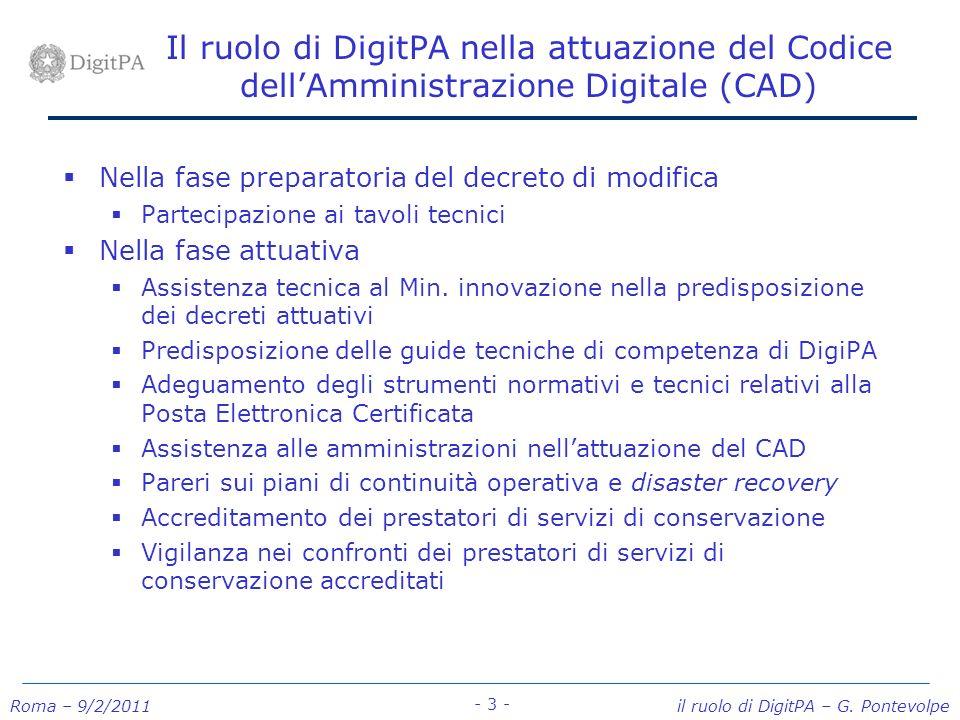 Il ruolo di DigitPA nella attuazione del Codice dell'Amministrazione Digitale (CAD)