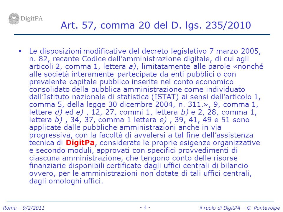 Art. 57, comma 20 del D. lgs. 235/2010