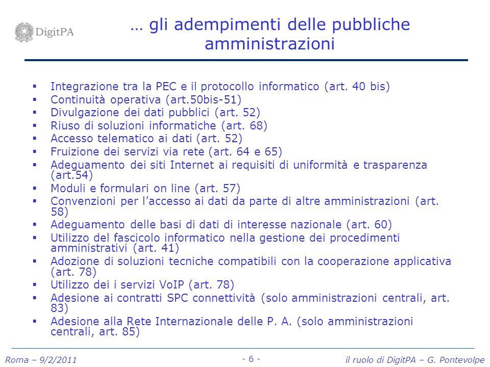 … gli adempimenti delle pubbliche amministrazioni